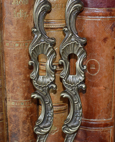 Vintage Pair Brass Escutcheons Keyholes Vertical Made in Italy - Antique Flea Finds - 1