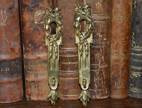 Antique French Pair Bronze Ormolu Escutcheons Keyholes Laurel Wreath Bow - Antique Flea Finds - 1