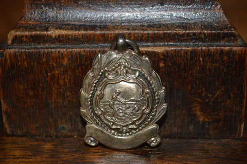 Antique English Pocket Watch Fob Silver Swim Or Dive Medal Dated 1951 - Antique Flea Finds