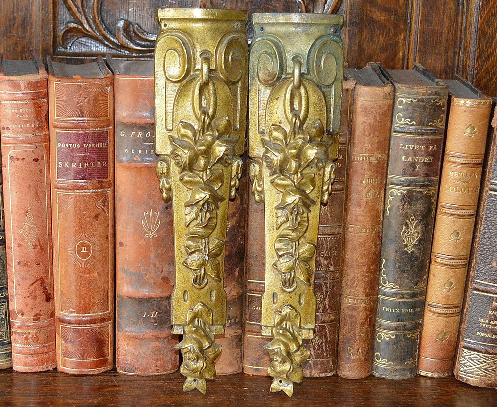 Antique Pair French Pediments Bronze Rose Design Ormolu Mount Hardware - Antique Flea Finds - 1