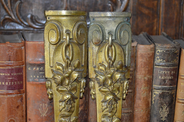 Antique Pair French Pediments Bronze Rose Design Ormolu Mount Hardware - Antique Flea Finds - 2