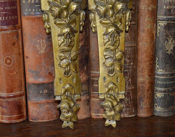 Antique Pair French Pediments Bronze Rose Design Ormolu Mount Hardware - Antique Flea Finds - 3