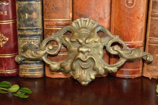 Antique French Gothic Gargoyle Bronze Pediment Trim Mount Satyrical Mythological Hardware