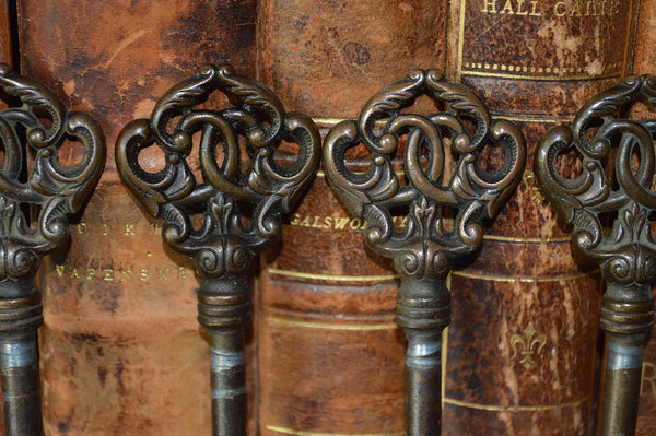 Antique French Brass Skeleton Key Ornate Acanthus Scrolls 4 Available - Antique Flea Finds