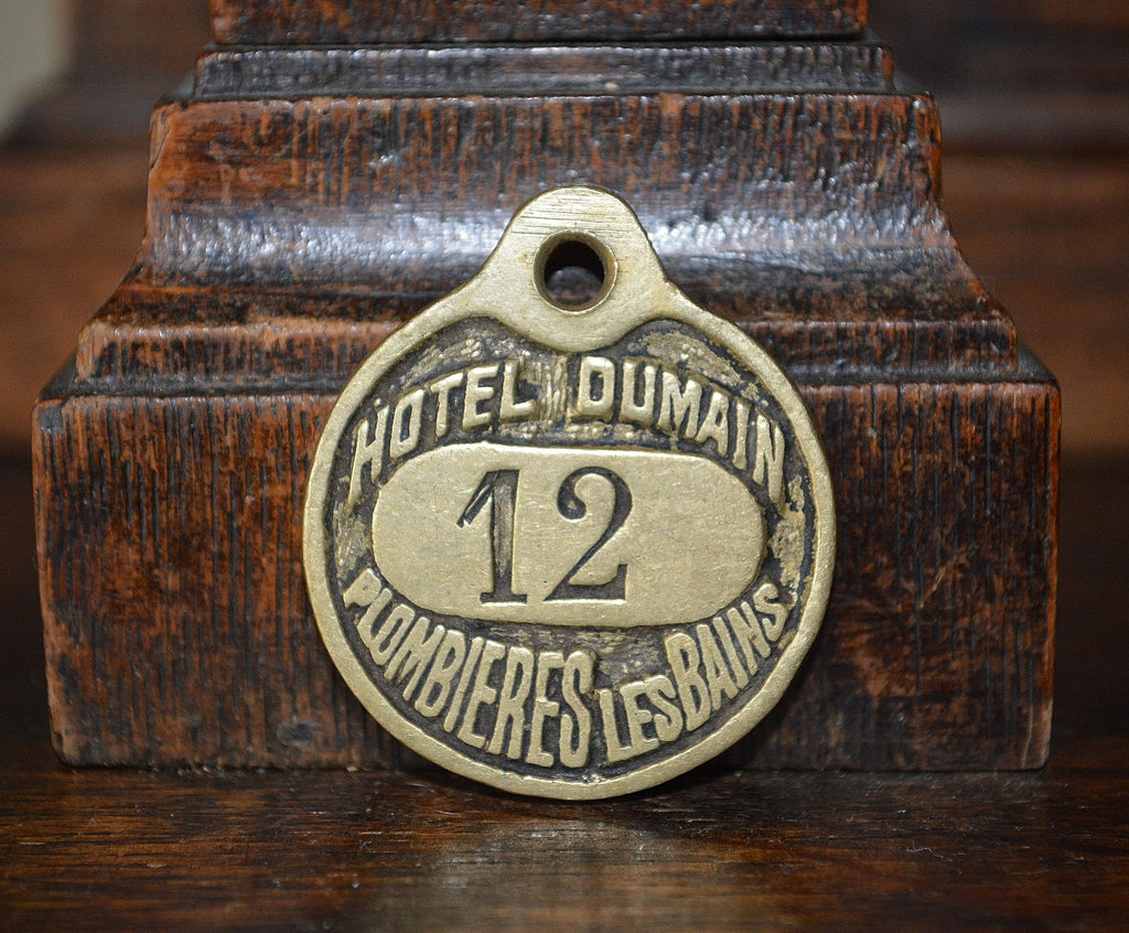 Antique French Hotel Plaque Key Tag Brass Number Sign Hotel Dumain Plombieres Les Bains - Antique Flea Finds - 1