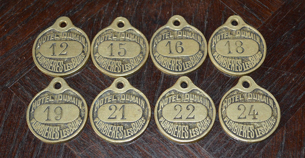 Antique French Hotel Plaque Key Tag Brass Number Sign Hotel Dumain Plombieres Les Bains - Antique Flea Finds - 2