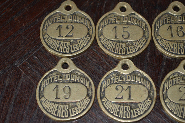 Antique French Hotel Plaque Key Tag Brass Number Sign Hotel Dumain Plombieres Les Bains - Antique Flea Finds - 3