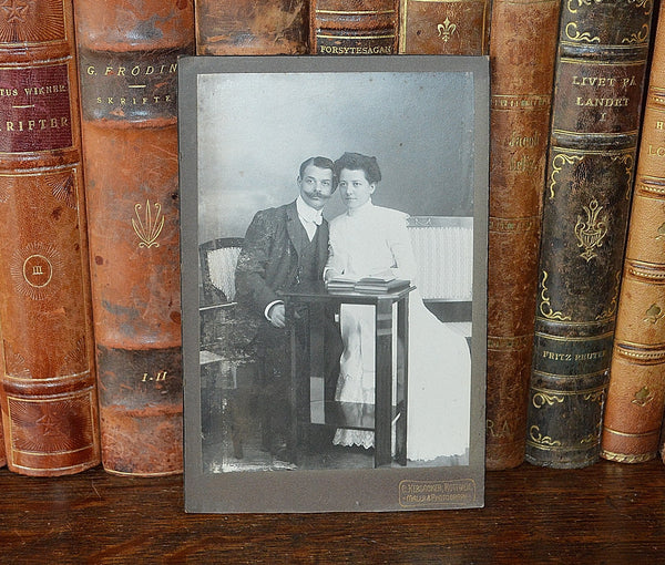 Antique German Photograph Cabinet Card Wedding Photo Hebsacker Atelier 1875 - Antique Flea Finds - 1