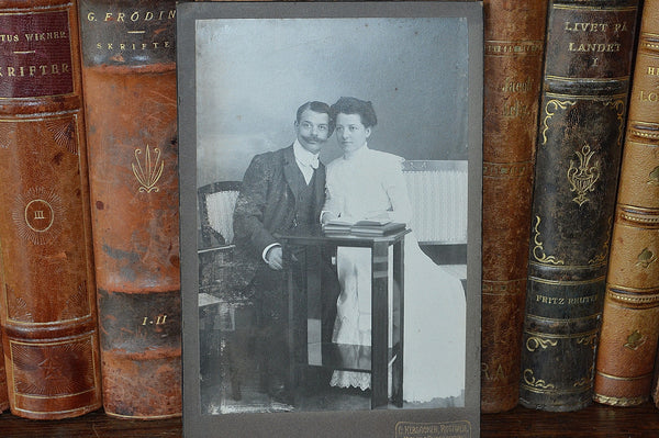 Antique German Photograph Cabinet Card Wedding Photo Hebsacker Atelier 1875 - Antique Flea Finds - 2