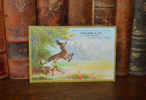 Antique Victorian Christmas Advertising Trade Card Sollers Fine Shoes - Antique Flea Finds - 1