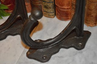 Antique Large French Enamel Double Coat Hat Hook Cast Iron Hardware - 2 Available