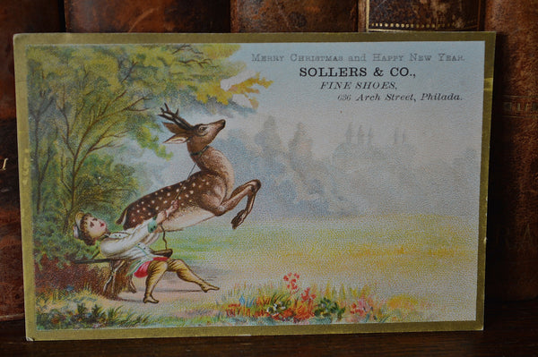 Antique Victorian Christmas Advertising Trade Card Sollers Fine Shoes - Antique Flea Finds - 2