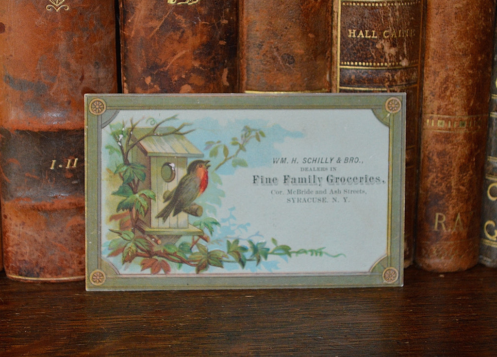 Antique Victorian Advertising Trade Card Schilly & Brothers Family Groceries - Antique Flea Finds - 1