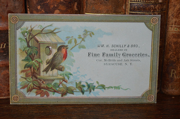 Antique Victorian Advertising Trade Card Schilly & Brothers Family Groceries - Antique Flea Finds - 2