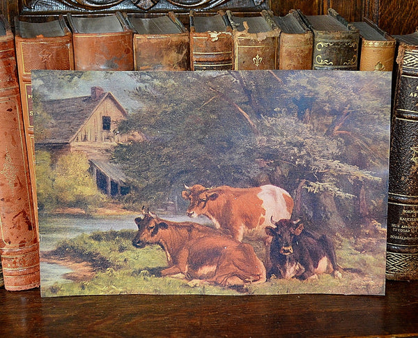 Antique Pastoral Lithograph Print With Cows And Barn Landscape Litho - Antique Flea Finds - 1