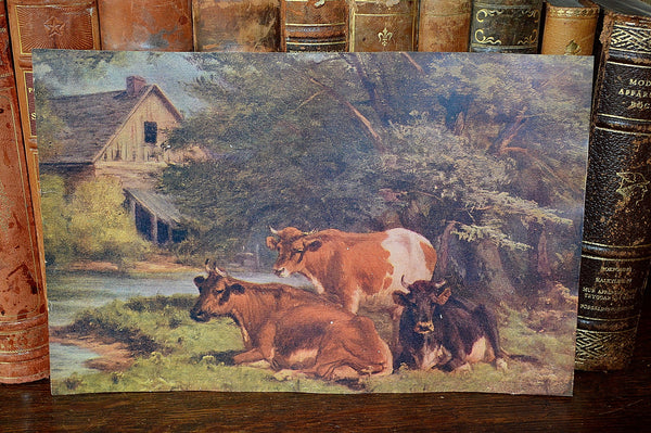 Antique Pastoral Lithograph Print With Cows And Barn Landscape Litho - Antique Flea Finds - 2