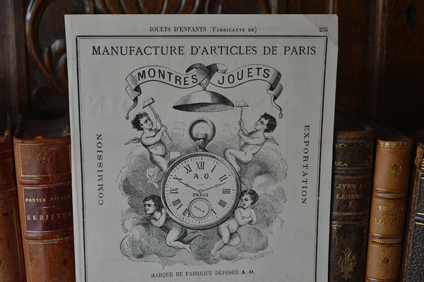 Vintage French Paris Graphic Advertising Print for Children's Toys and Watches Two Sided Ephemera - Antique Flea Finds - 5