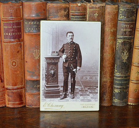 Antique French Photograph Cabinet Card Soldier Photo Dijon France - Antique Flea Finds - 1