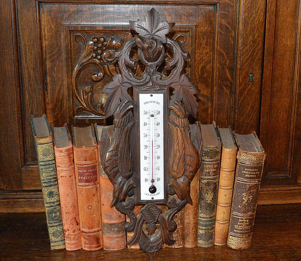 Antique French Thermometer Carved Wood Hunt Scene Dog Pheasants Black Forest Style - Antique Flea Finds - 1