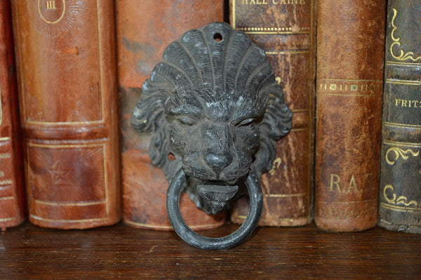 Antique French Lion Head Drawer Pull Furniture Handle - Antique Flea Finds - 1