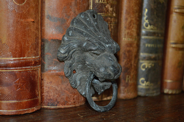 Antique French Lion Head Drawer Pull Furniture Handle - Antique Flea Finds - 2