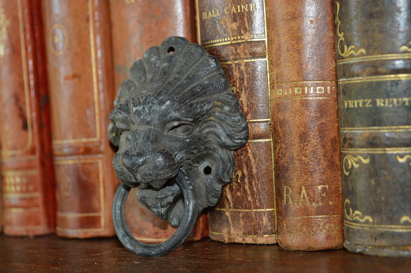 Antique French Lion Head Drawer Pull Furniture Handle - Antique Flea Finds - 3