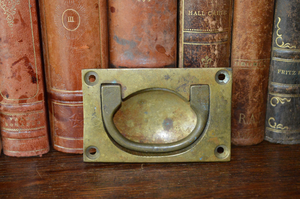 Antique English Campaign Chest Flush Mount Drawer Pull Handle