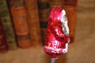 Antique German Red Santa Glass Clip On Christmas Tree Ornament