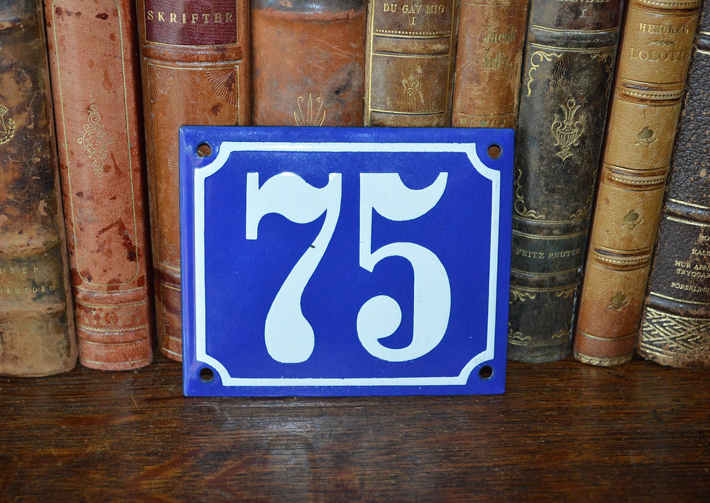 Vintage French Blue Enamel Sign Number 75 House Plaque - Antique Flea Finds - 1