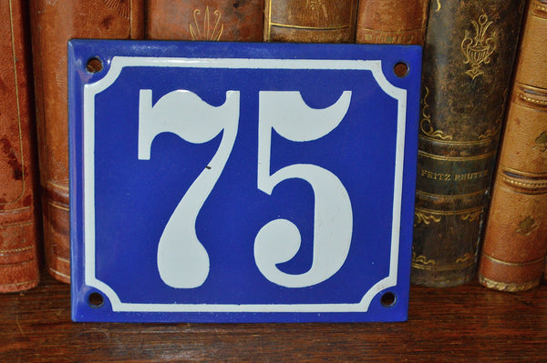 Vintage French Blue Enamel Sign Number 75 House Plaque - Antique Flea Finds - 2