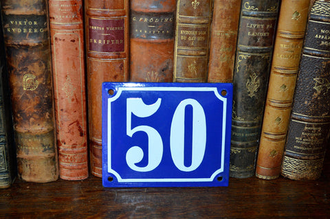 Vintage French Blue Enamel Sign Number 50 House Plaque - Antique Flea Finds - 1