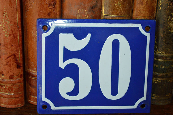 Vintage French Blue Enamel Sign Number 50 House Plaque - Antique Flea Finds - 2