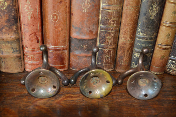 Antique English Brass Triple Swivel Hook Revolving 3 Available - Antique Flea Finds