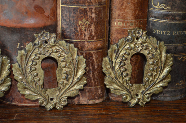 Antique French Brass Escutcheon Laurel Wreath Keyhole Hardware 4 Available - Antique Flea Finds
