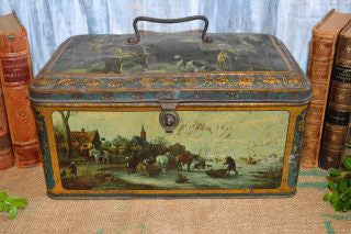 Antique Large Lithograph Christmas Cookie Biscuit Tin Box Wed J Bekkers Zoon Holland
