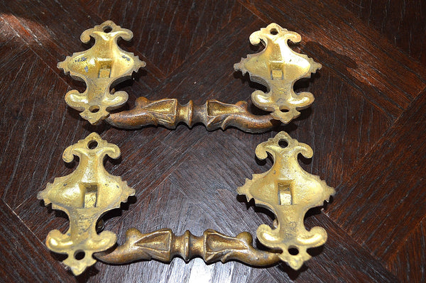 Antique Pair French Bronze Ormolu Drawer Pulls Large Furniture Handles - Antique Flea Finds - 4
