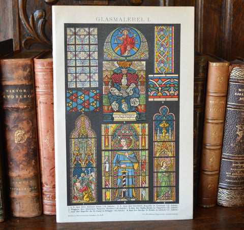 Antique Lithograph Print German Stained Glass Religious Scenes - Antique Flea Finds - 1