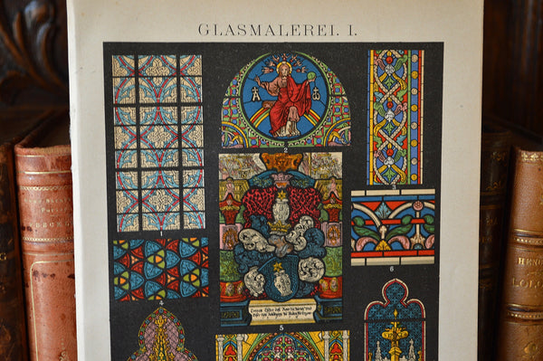 Antique Lithograph Print German Stained Glass Religious Scenes - Antique Flea Finds - 2