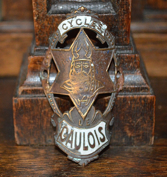 Antique French Enamel Bicycle Headbadge Le Gaulois Cycles Head Badge Brass Plaque - Antique Flea Finds - 1