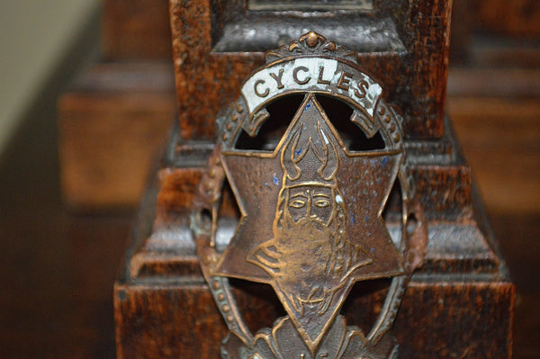 Antique French Enamel Bicycle Headbadge Le Gaulois Cycles Head Badge Brass Plaque - Antique Flea Finds - 2