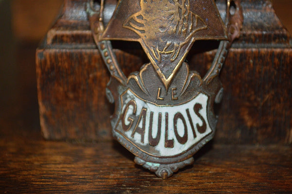 Antique French Enamel Bicycle Headbadge Le Gaulois Cycles Head Badge Brass Plaque - Antique Flea Finds - 3