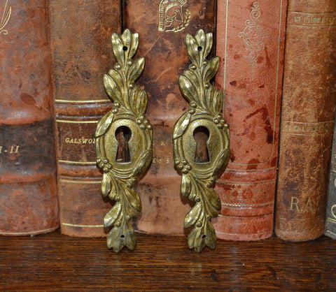 Vintage French Pair of Brass Escutcheons Keyholes Vertical - Antique Flea Finds - 1