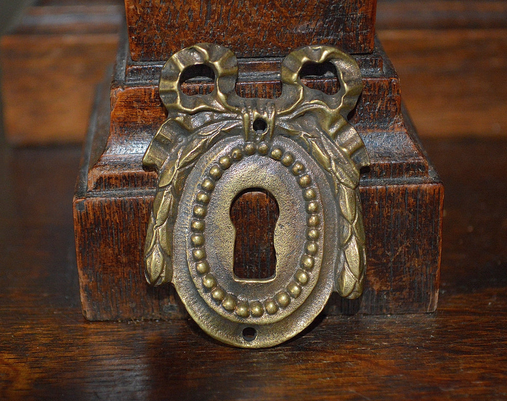 Antique French Bow Escutcheon Beaded Brass Keyhole Hardware - Antique Flea Finds