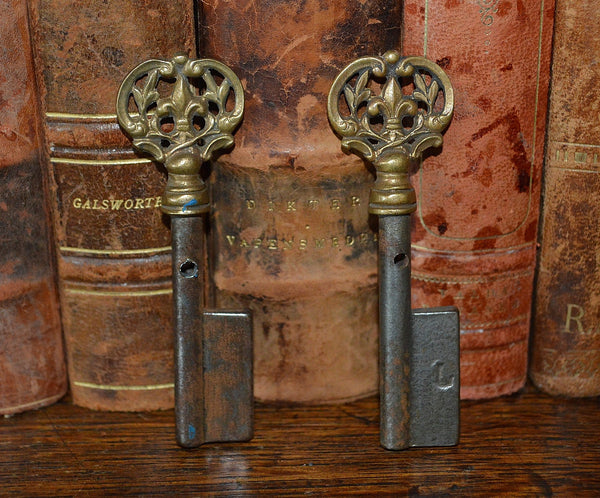 Antique French Fleur de Lis Key Barrel Blank Rare Uncut Skeleton Key - Antique Flea Finds - 2