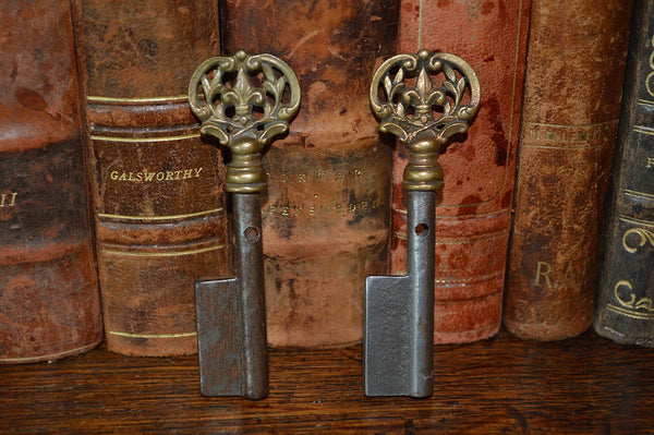 Antique French Fleur de Lis Key Barrel Blank Rare Uncut Skeleton Key - Antique Flea Finds - 4