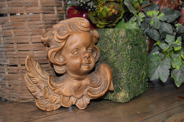 Antique Large German Cherub Head with Wings Carved Natural Wood