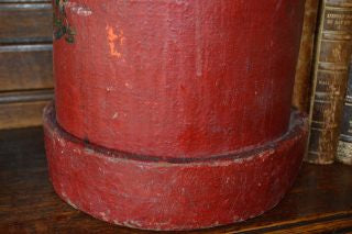 Antique Red Canvas English Fire or Cordite Bucket Coat of Arms Crest
