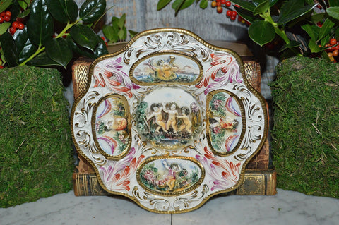 Vintage Capodimonte Cherub Dish Porcelain Raised Designs Gold Edging 2 Available