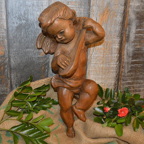 "Antique Carved Wood German Cherub Angel Playing Mandolin 16"" Tall - Antique Flea Finds"