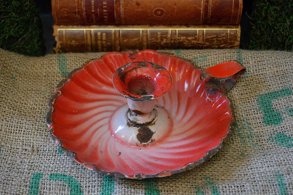 Antique French Red Enamel Candle Holder Chamber Candlestick Enamelware